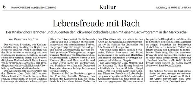 Artikel  Hannoversche Allgemeinen Zeitung 12.03.2012